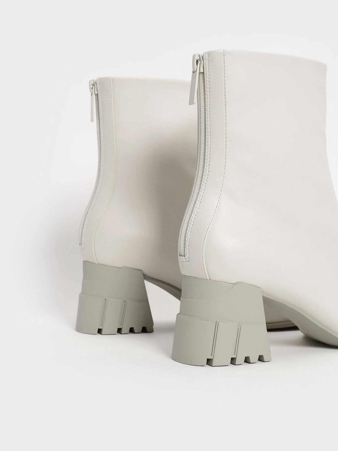 Zip-Up Block Heel Ankle Boots, Chalk, hi-res