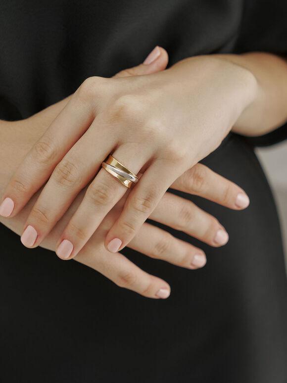 立體雙色纏繞戒指, 混色, hi-res