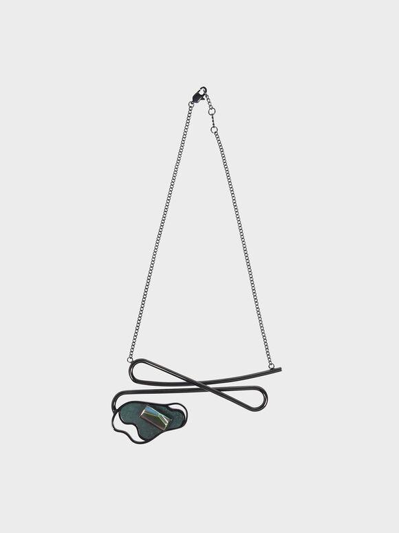 Semi-Precious Stone Necklace, Black, hi-res