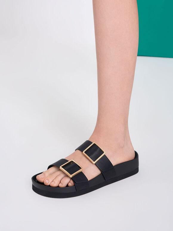 金屬釦雙帶拖鞋, 黑色, hi-res