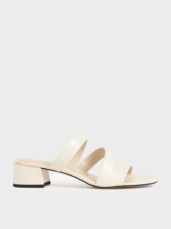 Strappy Block Heel Sandals, Chalk, hi-res