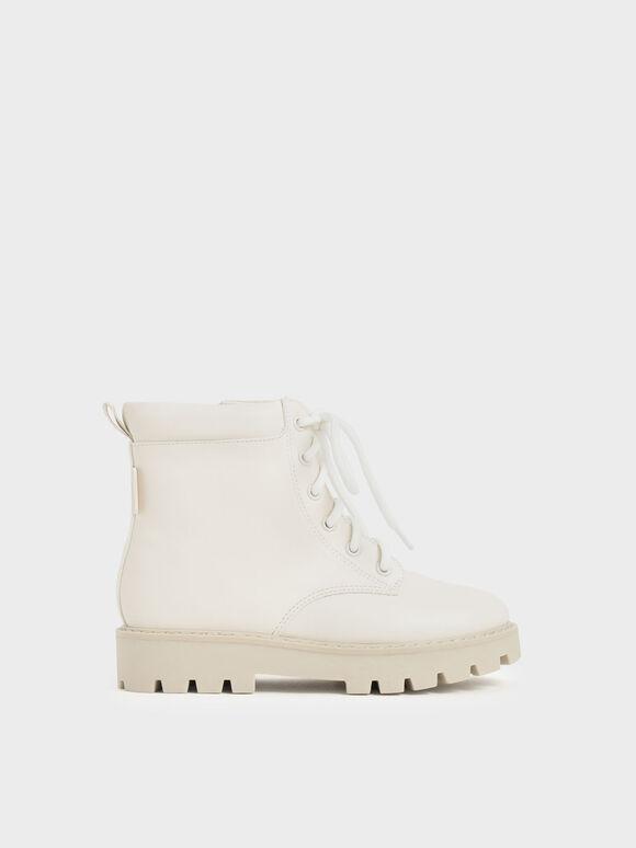 兒童綁帶厚底短靴, 白色, hi-res