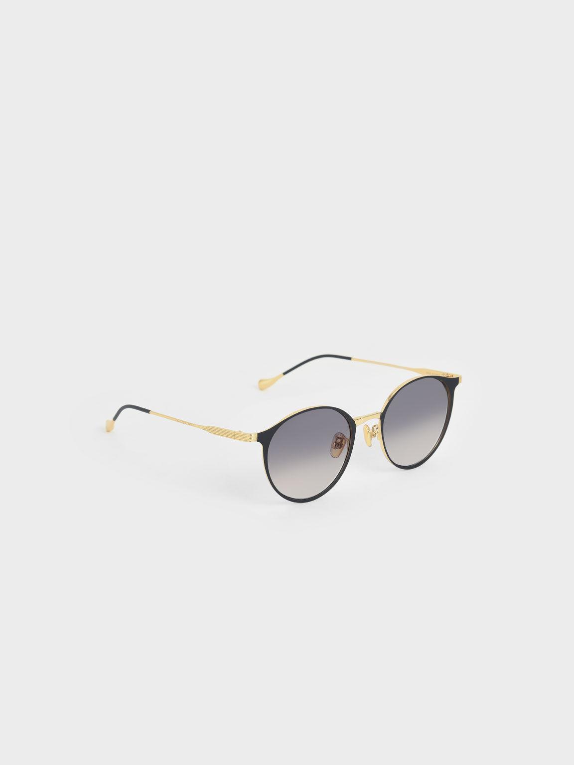Tinted Round Sunglasses, Black, hi-res