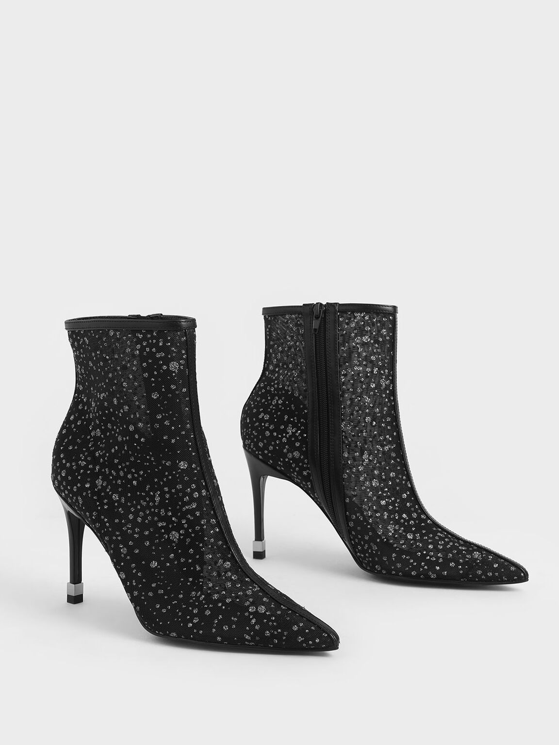 Mesh Stiletto Ankle Boots, Black Textured, hi-res