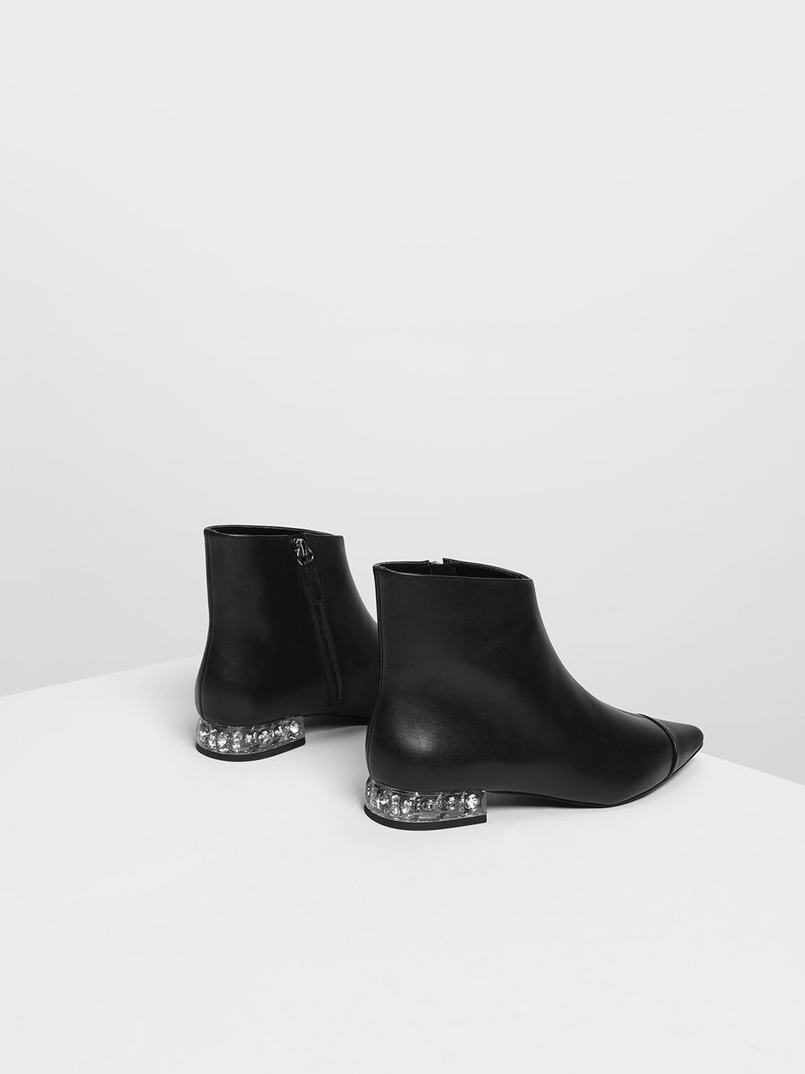 Faceted Lucite Heel Leather Boots, Black, hi-res