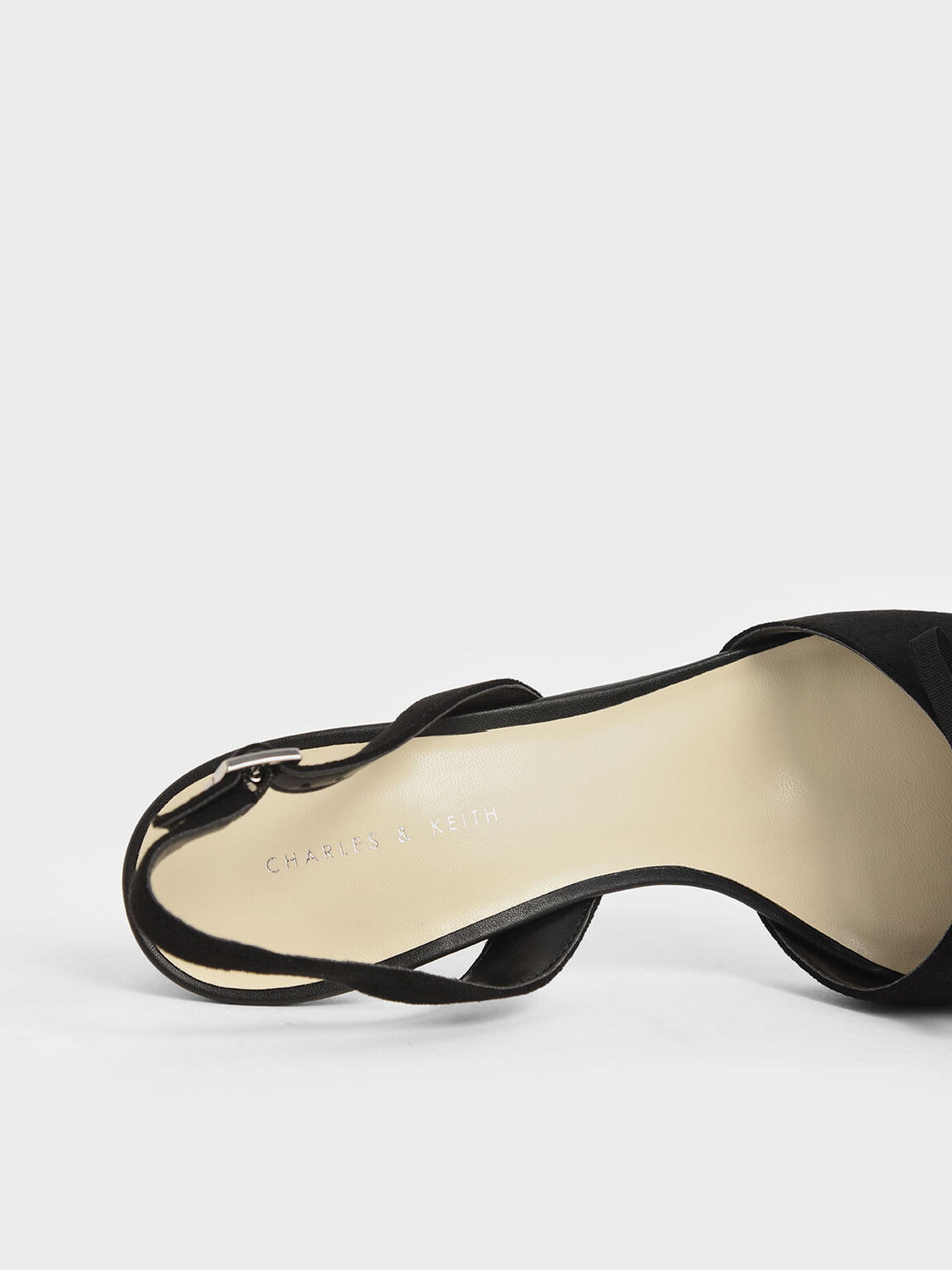 Ribbon Tie Textured Slingback Heels, Black, hi-res