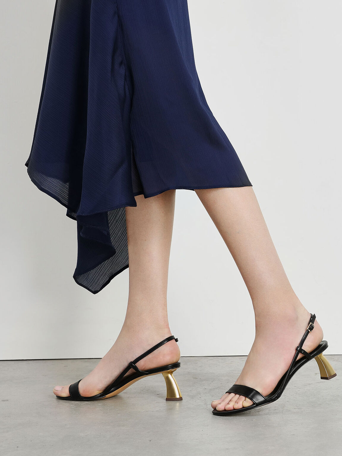 Sculptural Heel Strappy Sandals, Black, hi-res