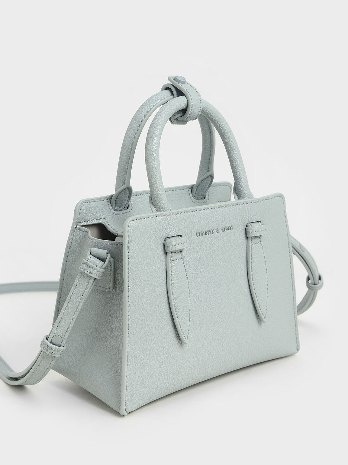 Double Top Handle Structured Bag, Light Blue, hi-res