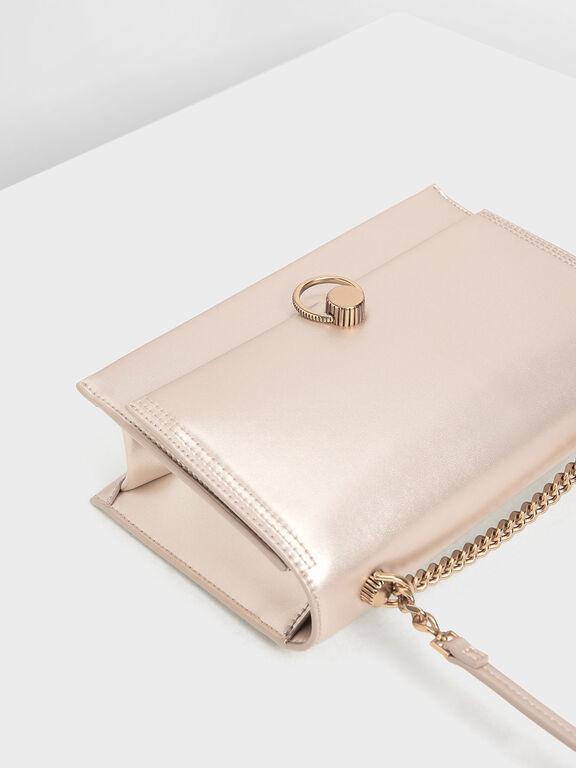 Classic Push Lock Bag, Rose Gold
