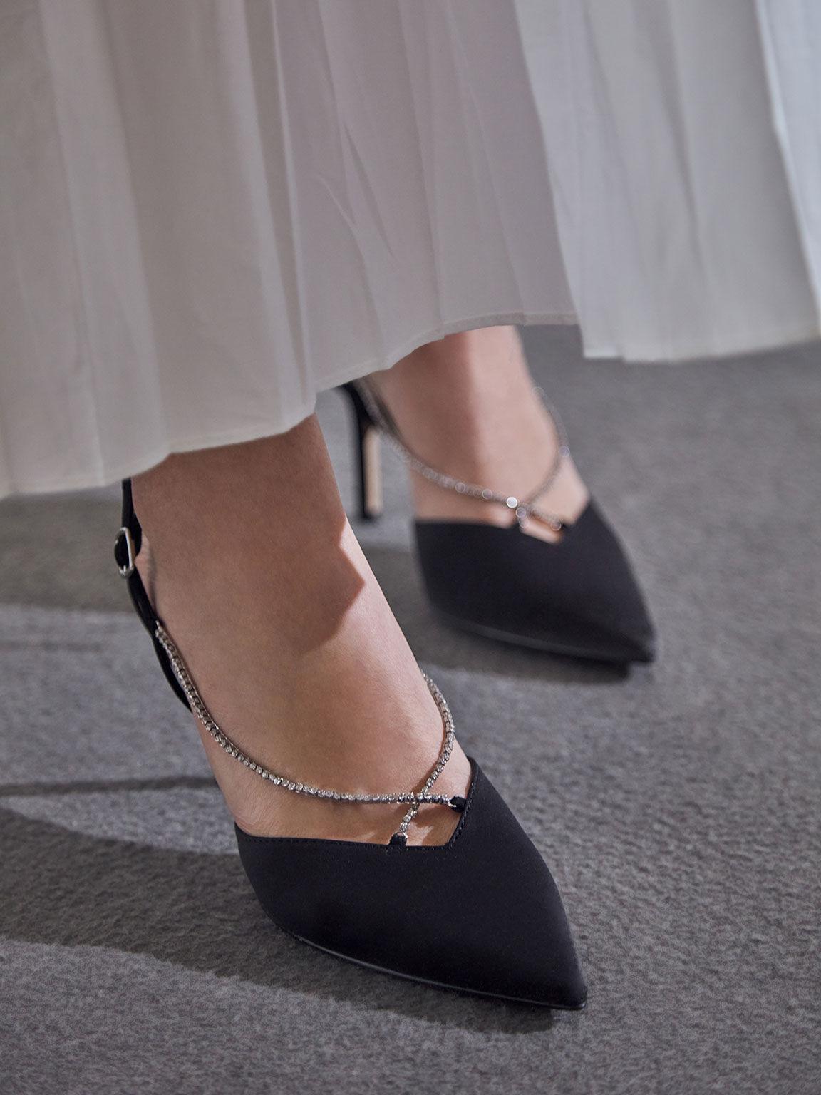 寶石鍊尖頭跟鞋, 黑色, hi-res