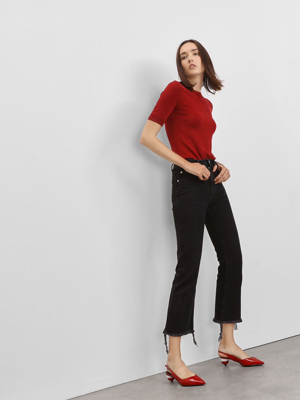 Leather Spherical Slingback Heels, Red, hi-res