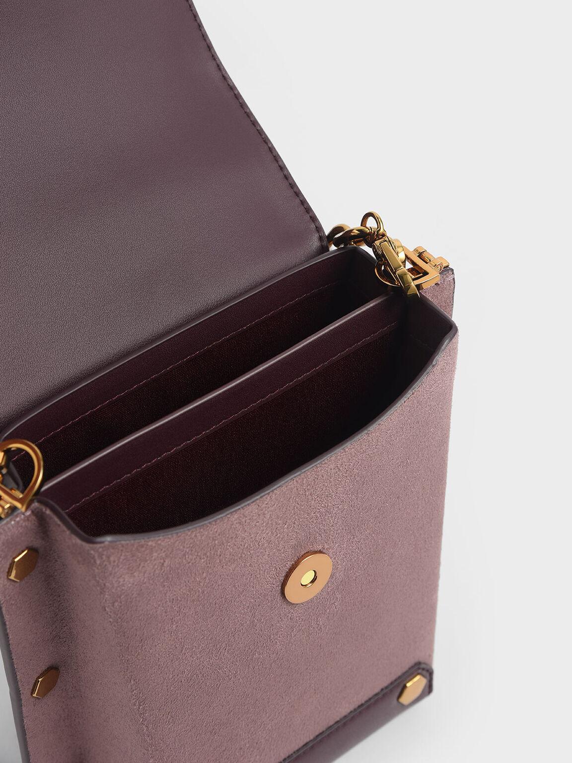 鉚釘手提包, 紫灰色, hi-res