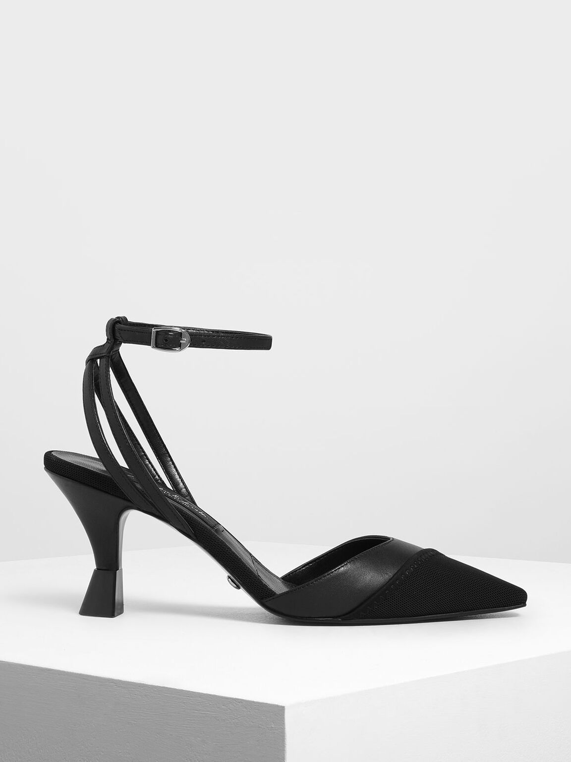 Mesh Leather Ankle Strap Pumps, Black, hi-res