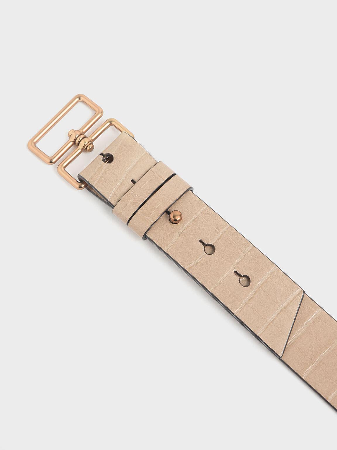 Croc-Effect Double Buckle Waist Belt, Beige, hi-res