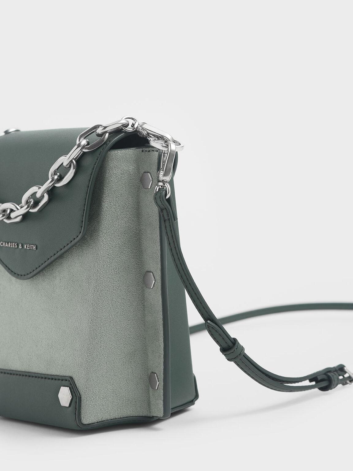 鉚釘手提包, 灰綠色, hi-res