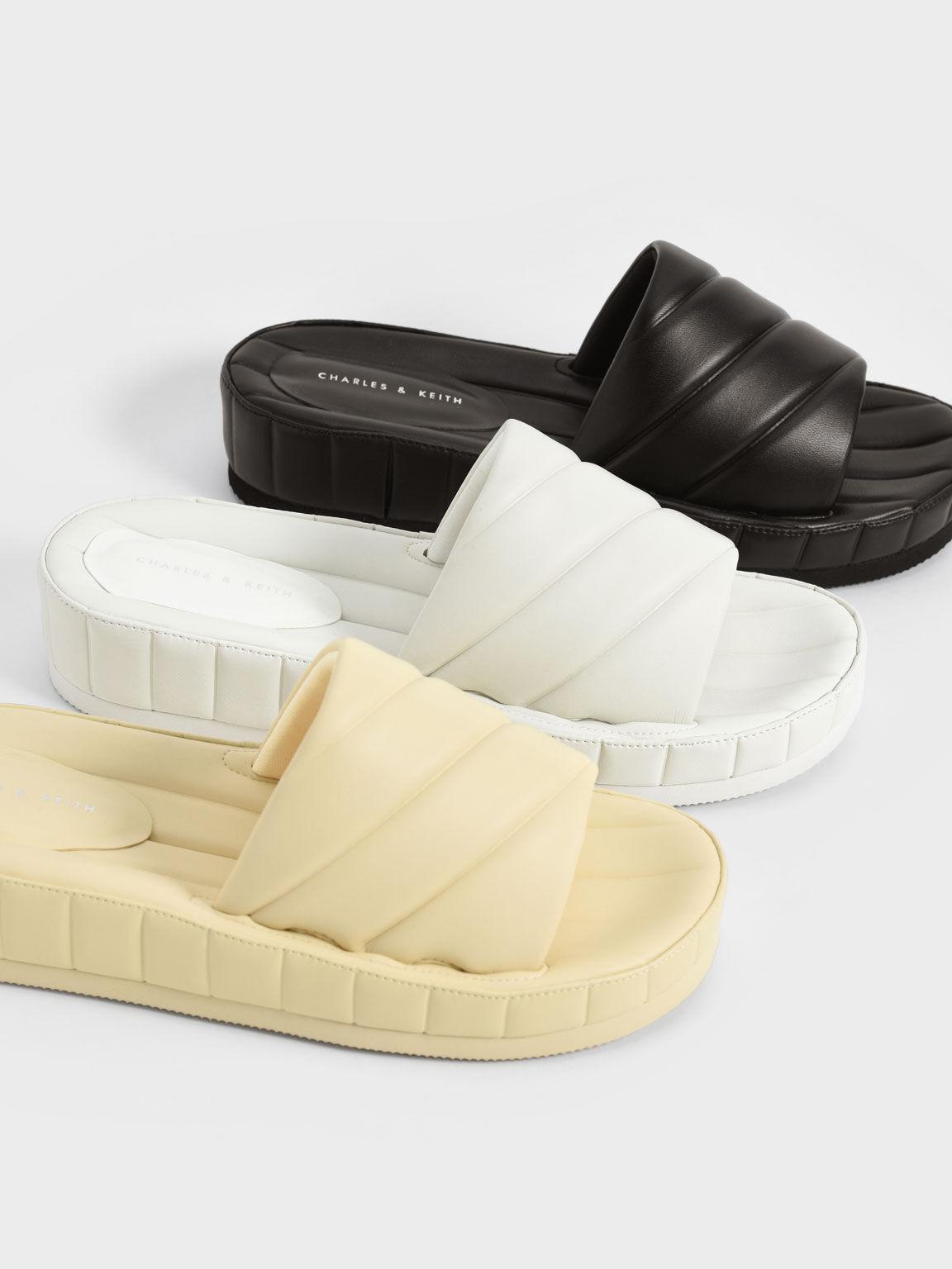 Puffy Flatform Slide Sandals, White, hi-res
