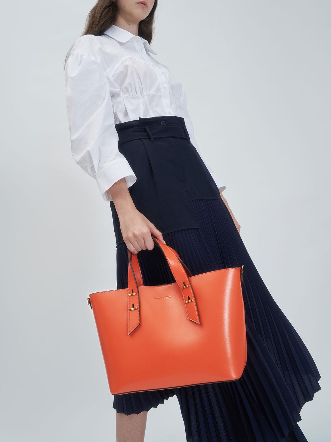 Double Handle Hobo Bag, Orange, hi-res