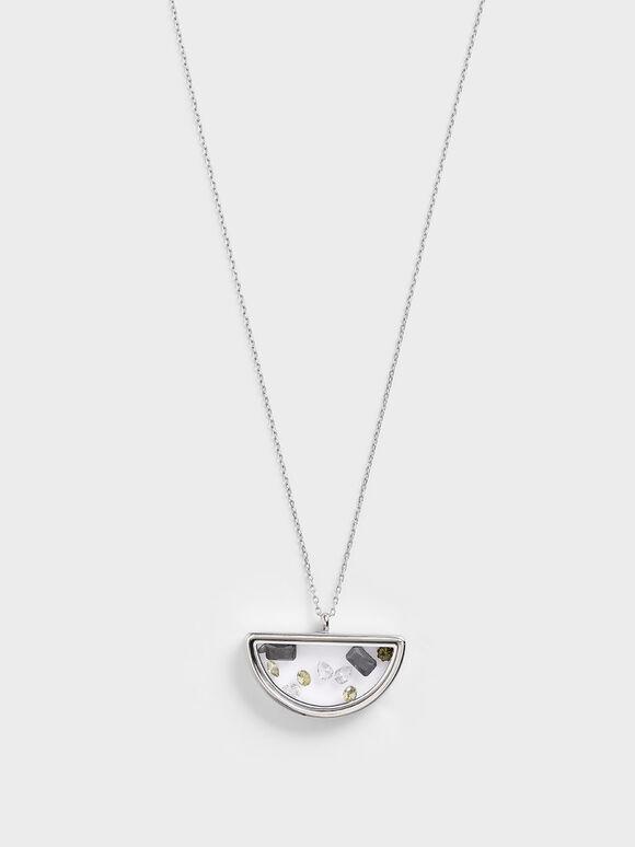 Semi-Circle Floating Locket Necklace, Silver, hi-res