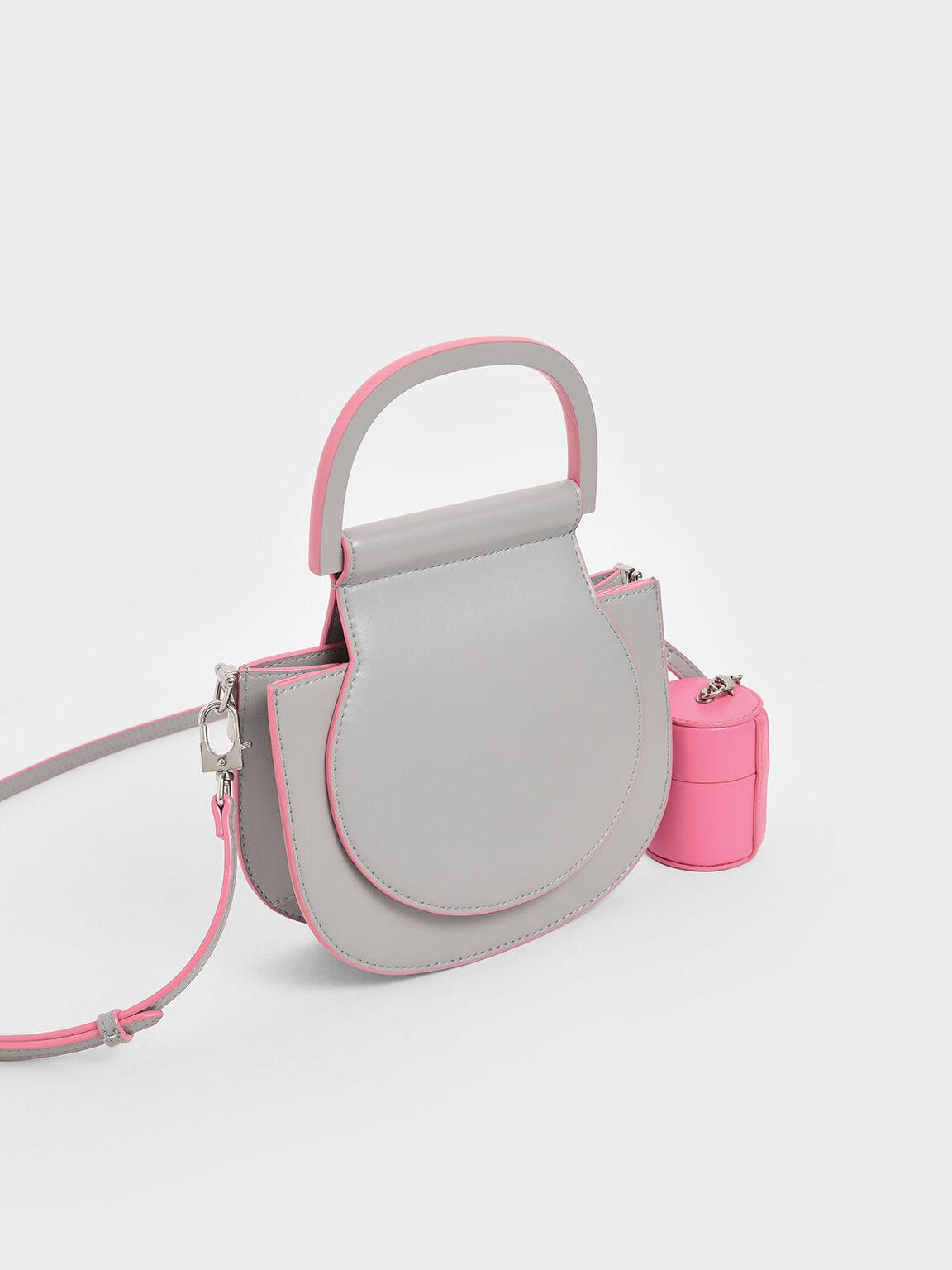 Mini Top Handle Saddle Bag, Grey, hi-res