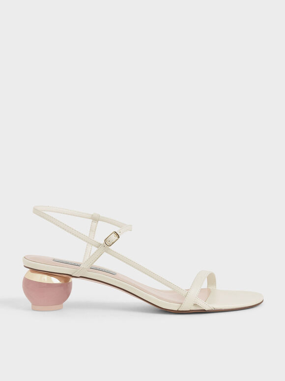 Sculptural Heel Ankle Strap Sandals, Chalk, hi-res