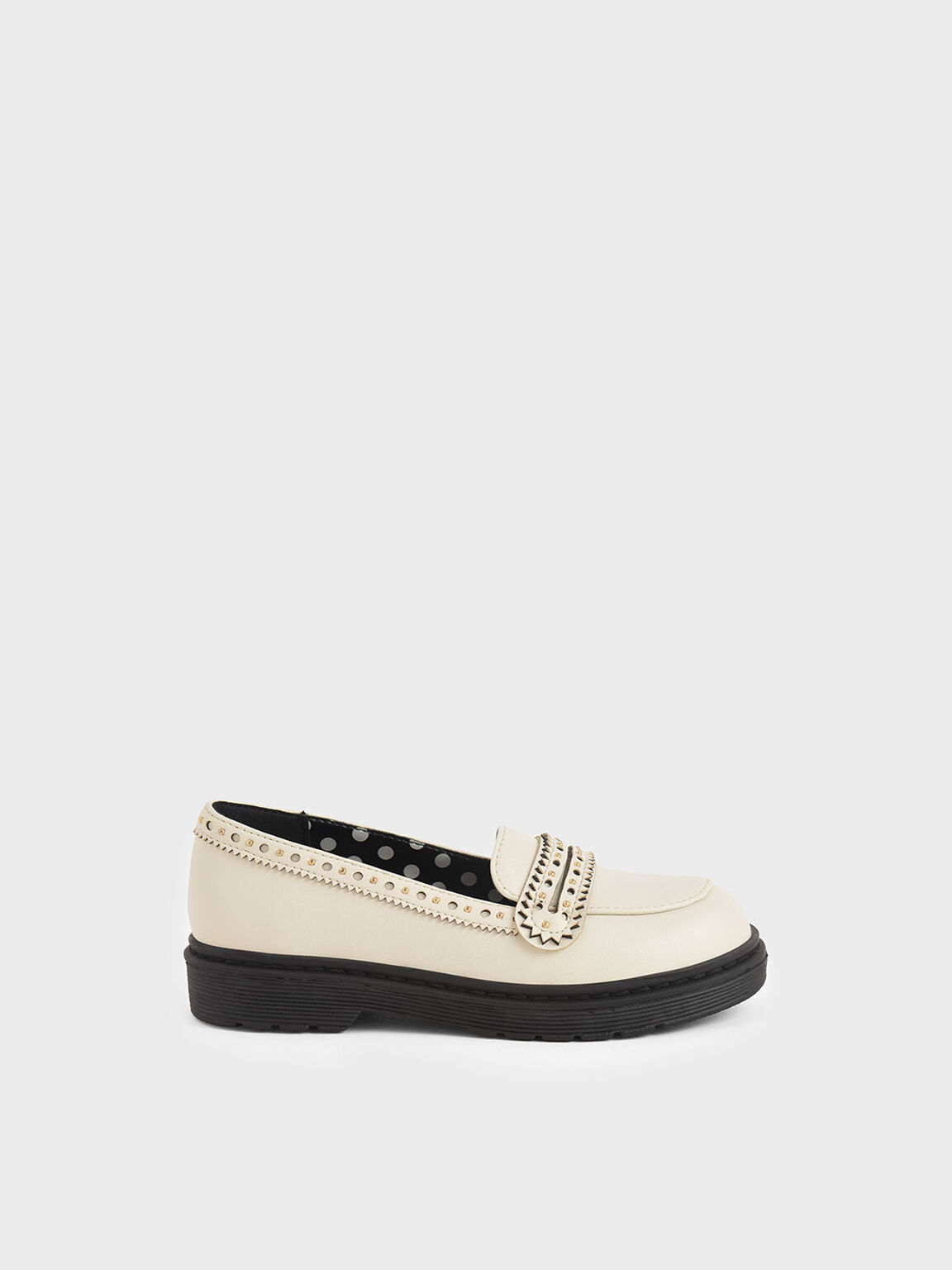 Girls' Studded Penny Loafers, Chalk, hi-res