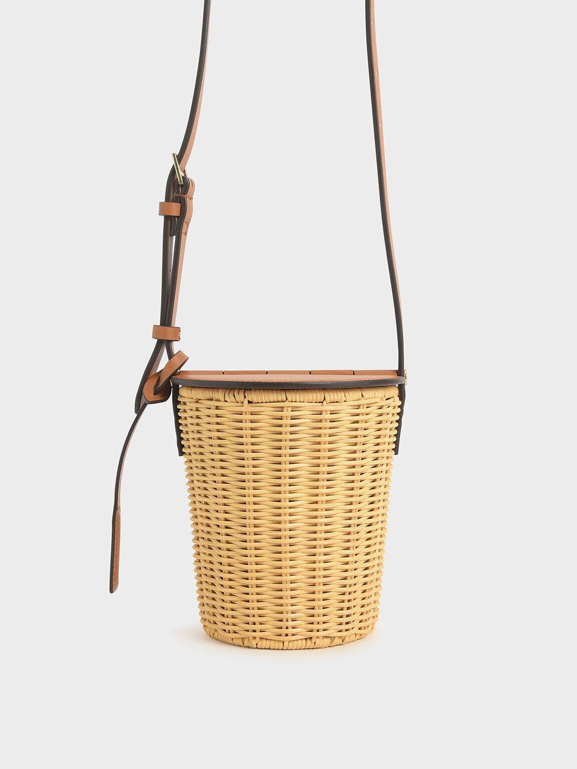 Rattan Cylindrical Crossbody Bag, Cognac, hi-res