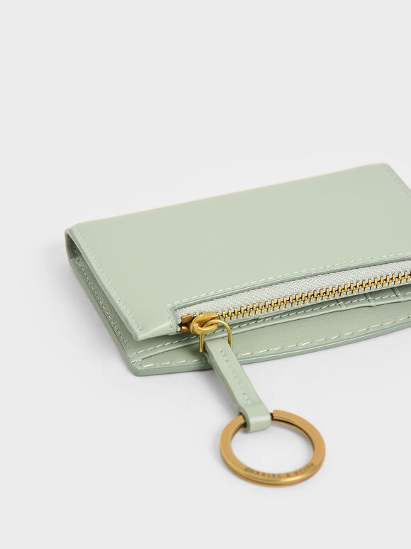 Ring Detail Card Holder, Mint Green, hi-res