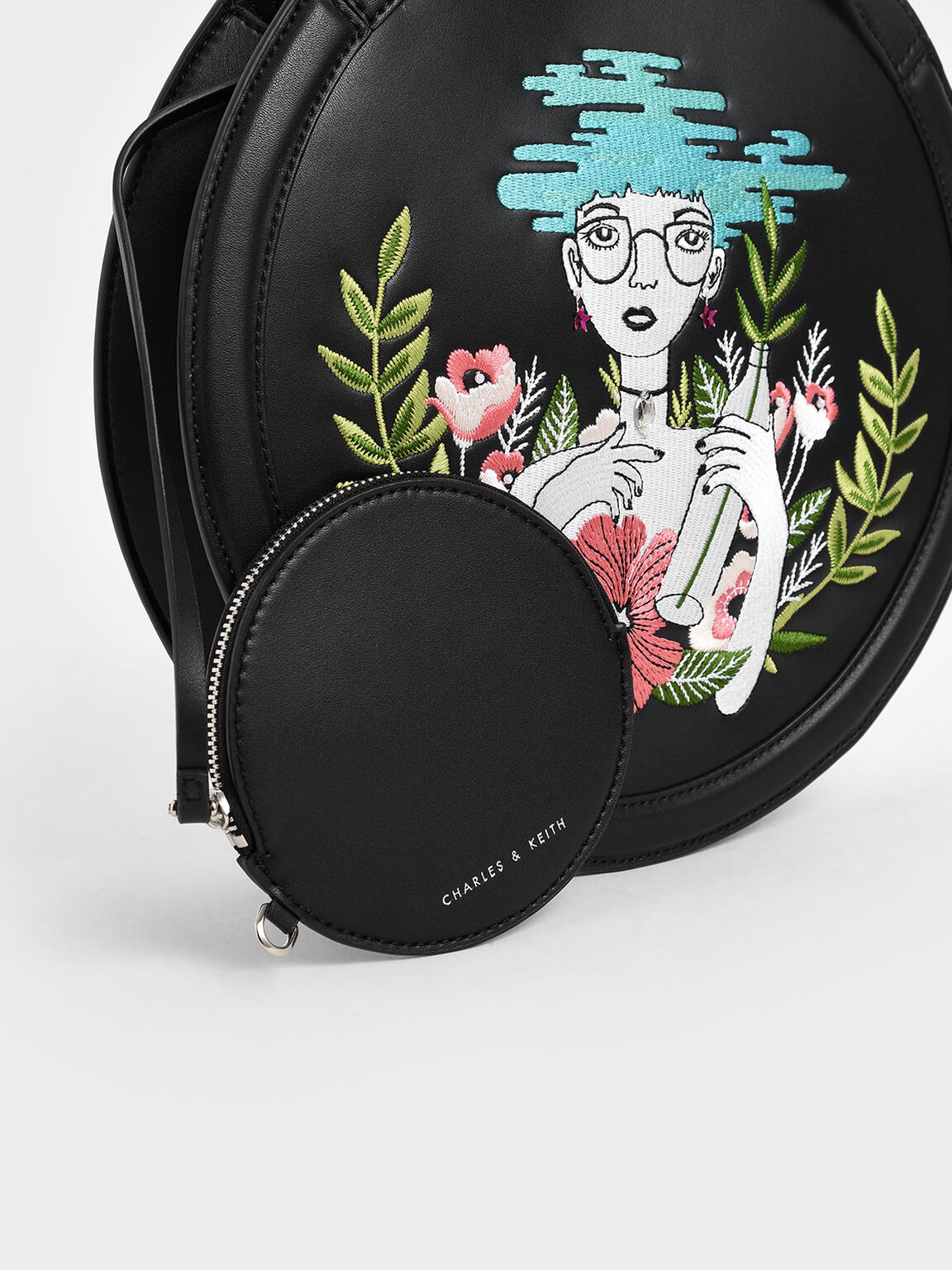CHARLES & KEITH By Teeteeheehee: Embroidered Round Tote Bag, Black, hi-res