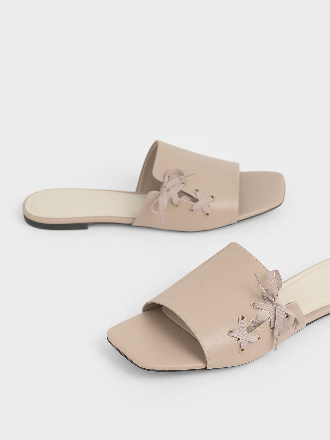 Ribbon Tie Slide Sandals, Beige, hi-res