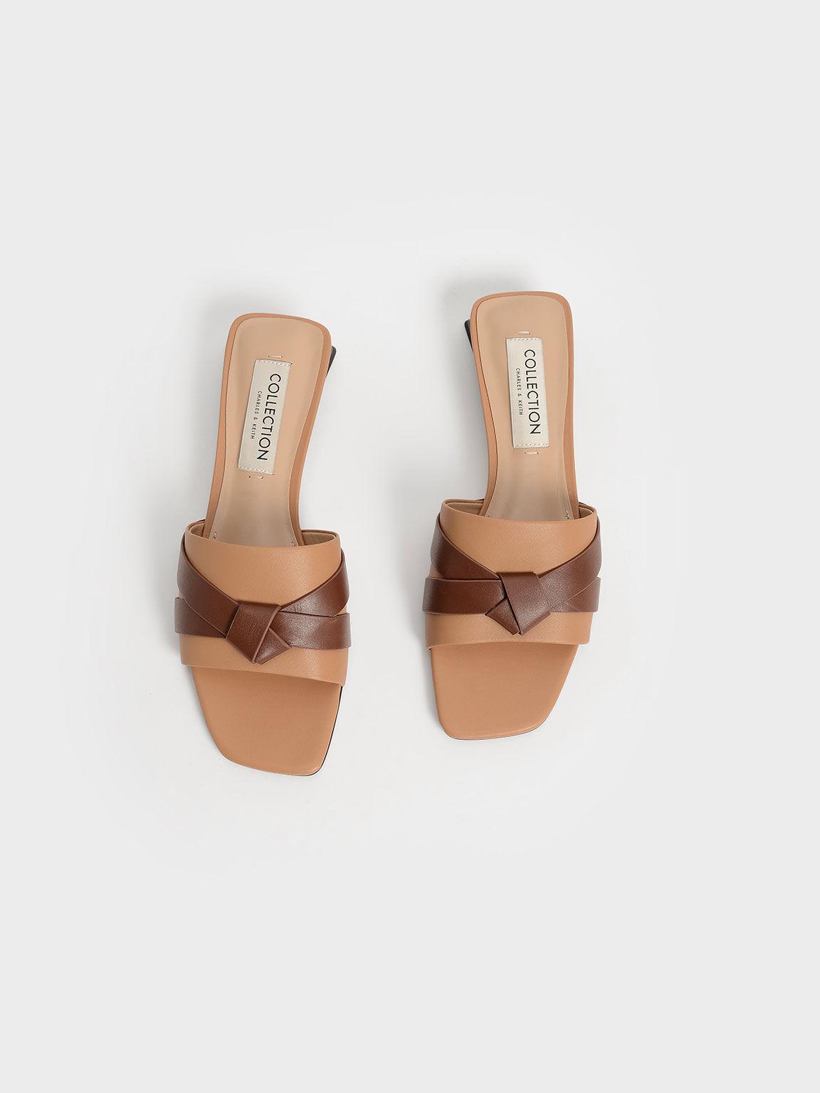 真皮扭結方頭拖鞋, 焦糖色, hi-res