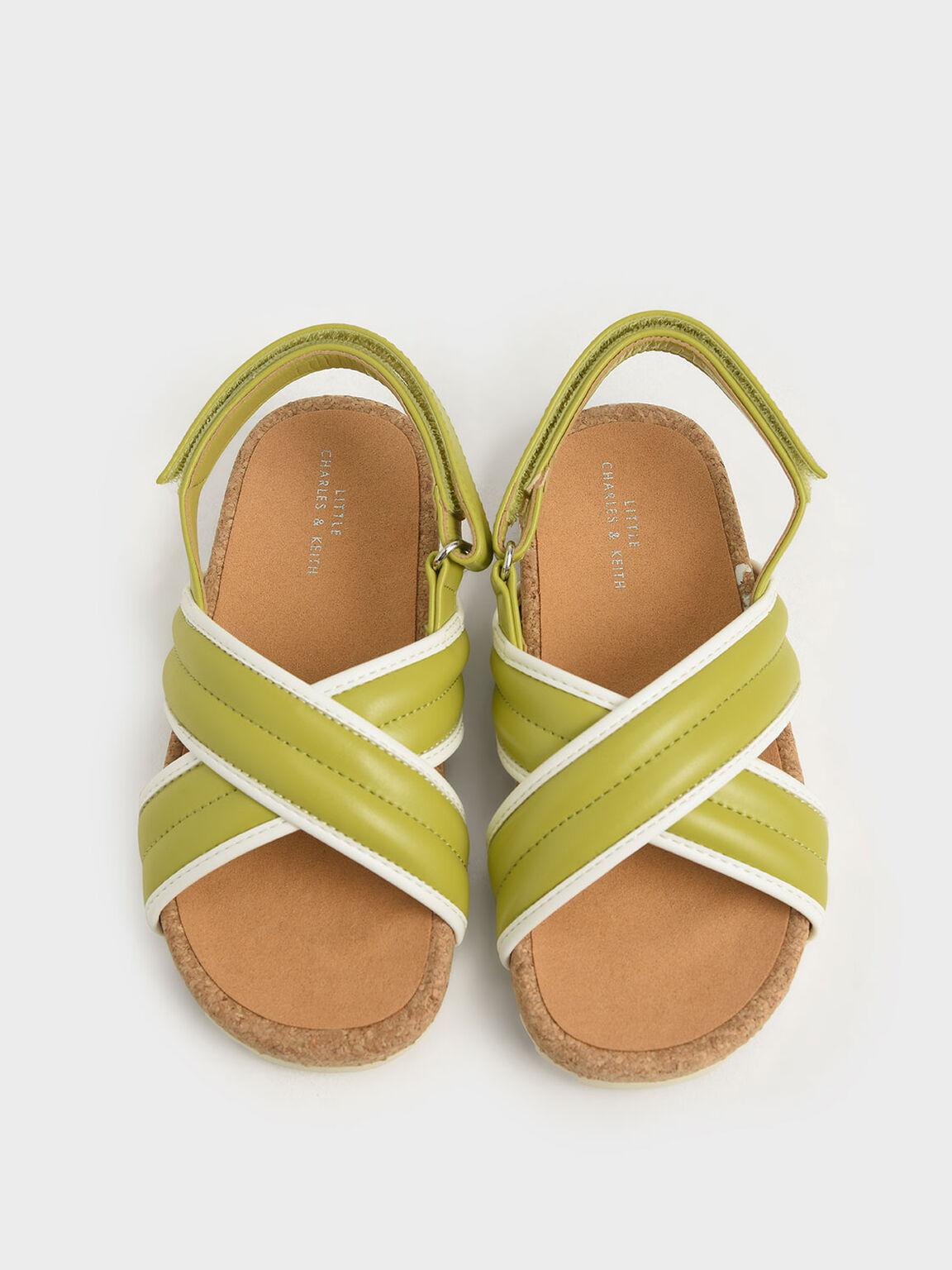 Girls' Criss Cross Sandals, Green, hi-res
