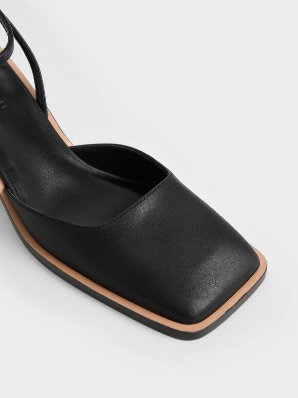 Leather Sculptural Heel Pumps, Black, hi-res