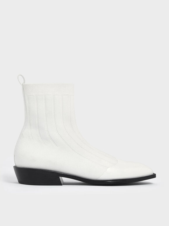 Knitted Ankle Boots, White, hi-res