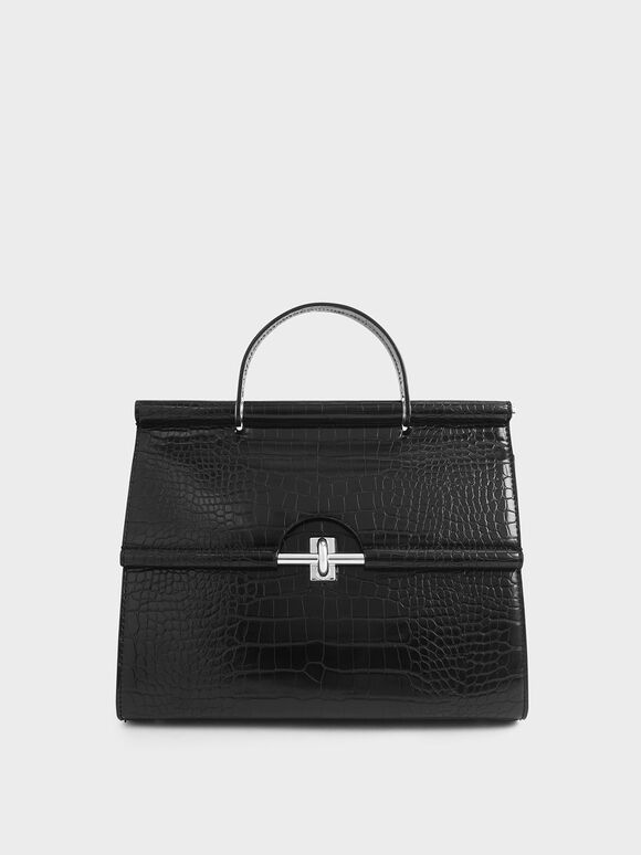 Croc-Effect Structured Single Top Handle Bag, Black, hi-res