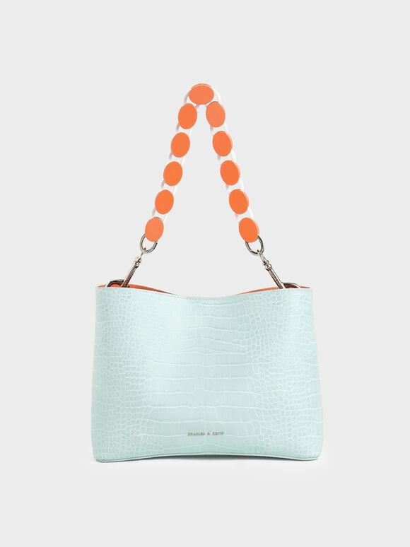 壓克力鍊條水桶包, Mint Blue, hi-res