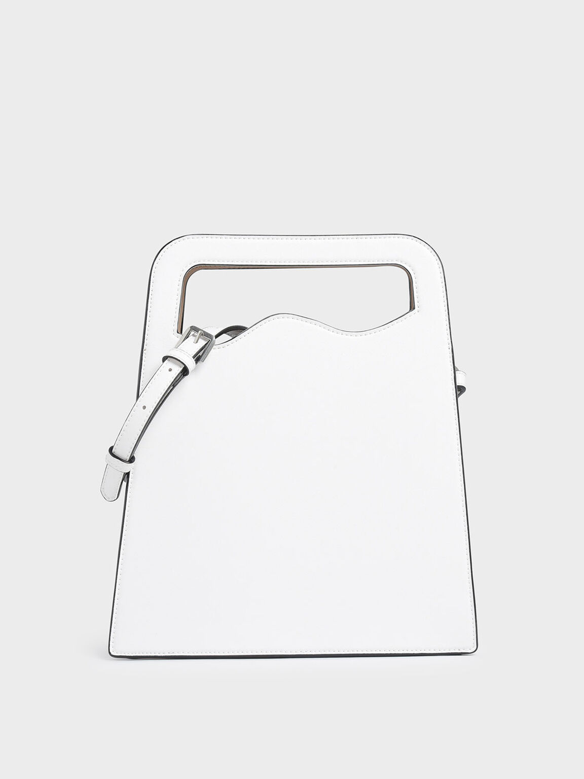 Asymmetric-Cut Top Handle Tote Bag, White, hi-res