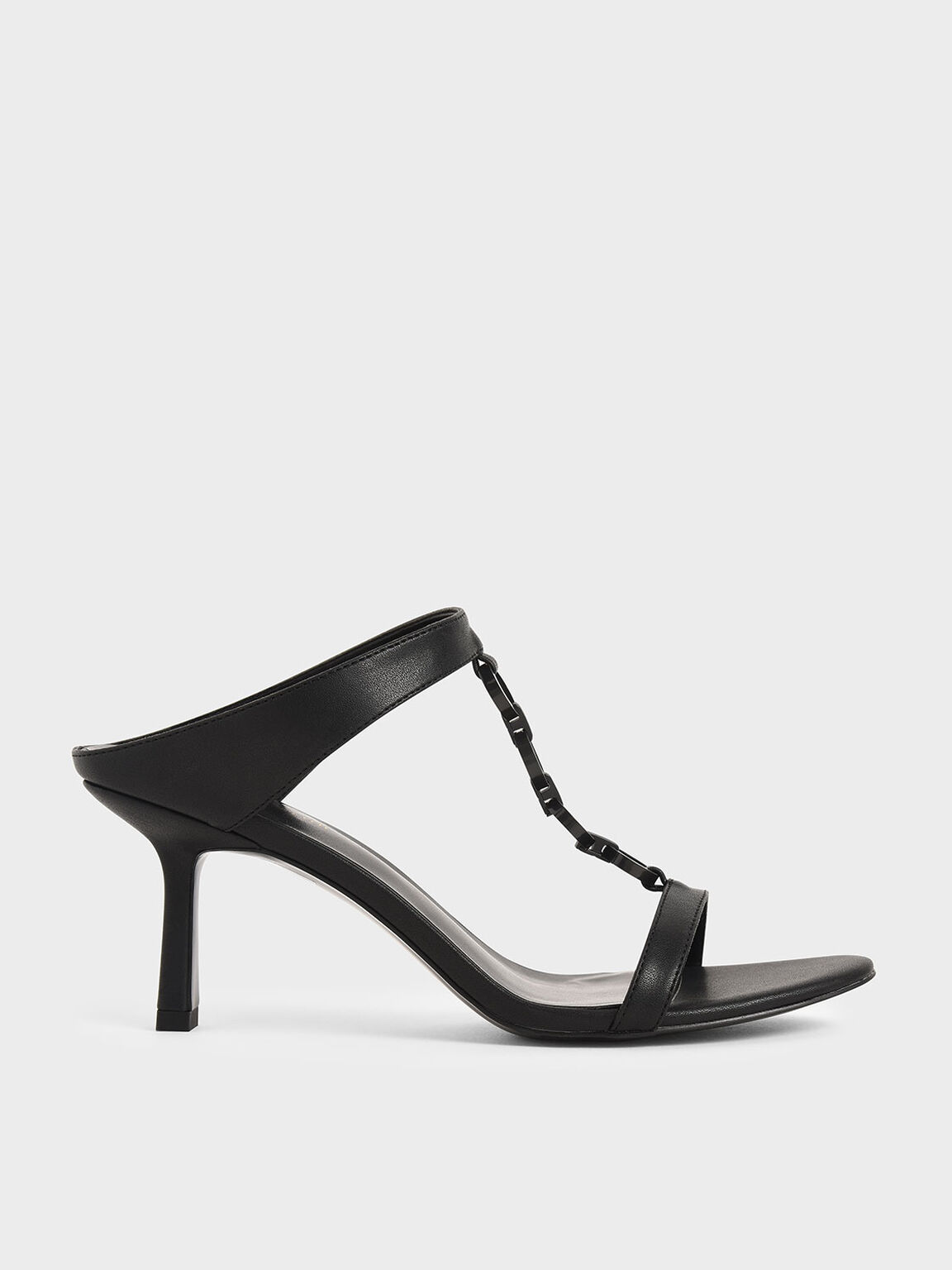 Wood-Effect Chain Link Mules, Black, hi-res
