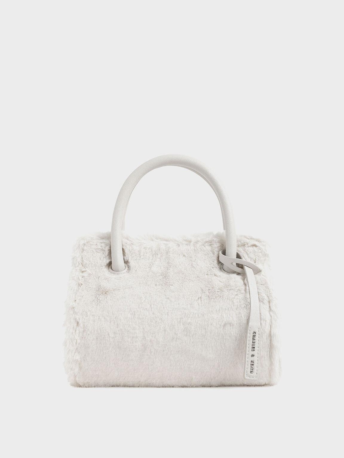 Textured Double Top Handle Bag, Cream, hi-res