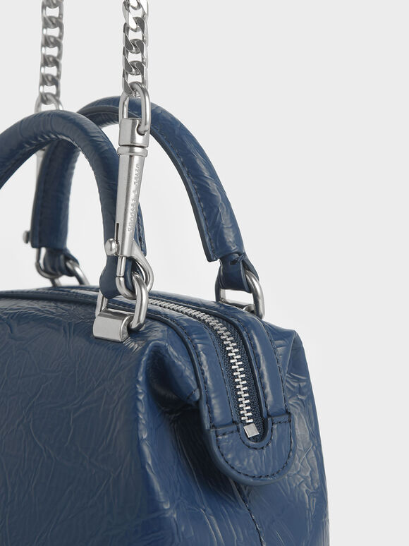 Wrinkled Effect Two-Way Zip Boxy Bag, Blue, hi-res