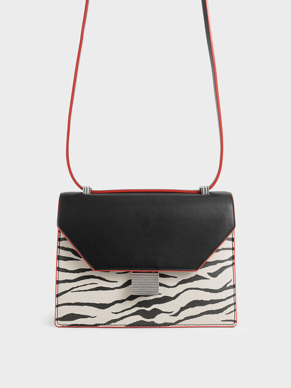 Velvet White Tiger Print Metal Accent Crossbody Bag, Multi, hi-res
