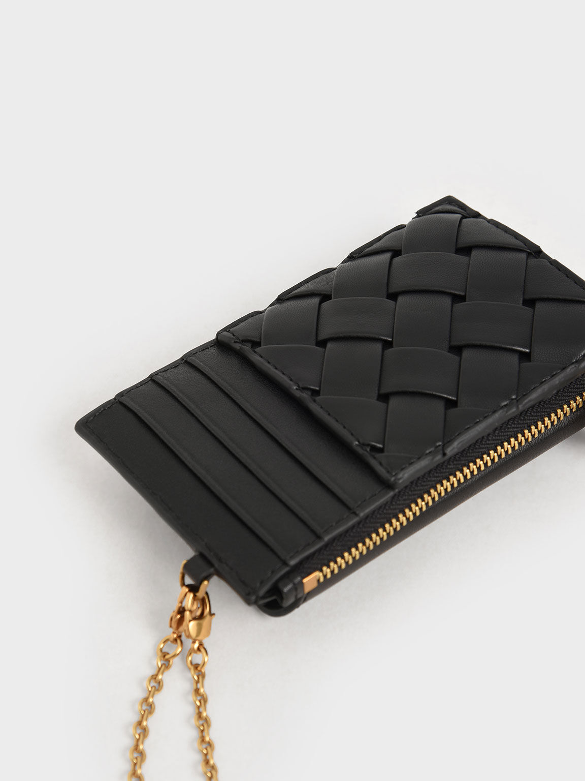 Woven Multi-Slot Card Holder, Black, hi-res