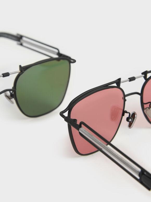 Square Double Bridge Sunglasses, Red, hi-res