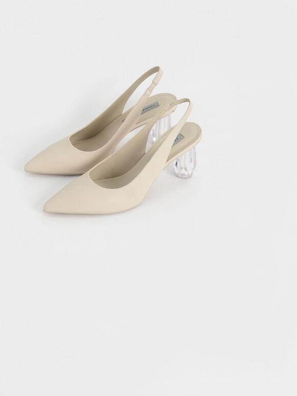 尖頭水晶跟鞋, 石灰白, hi-res