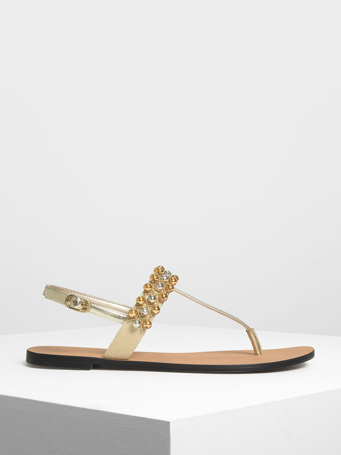 Embellished Thong Sandals, Gold, hi-res