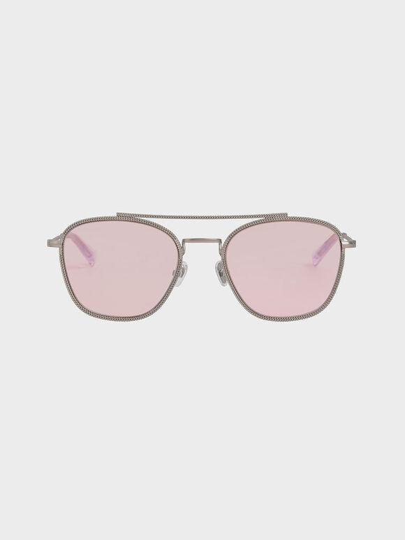 Double Bridge Wireframe Sunglasses, Pink, hi-res