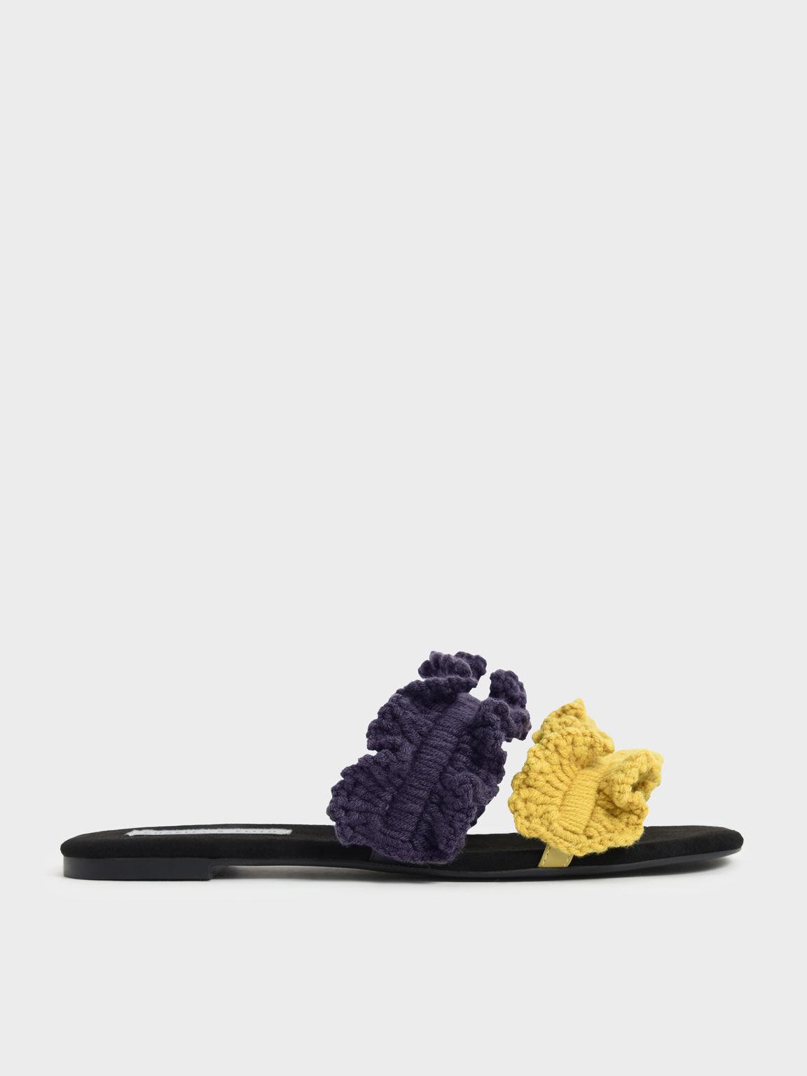 針織抓皺雙帶拖鞋, 混色, hi-res
