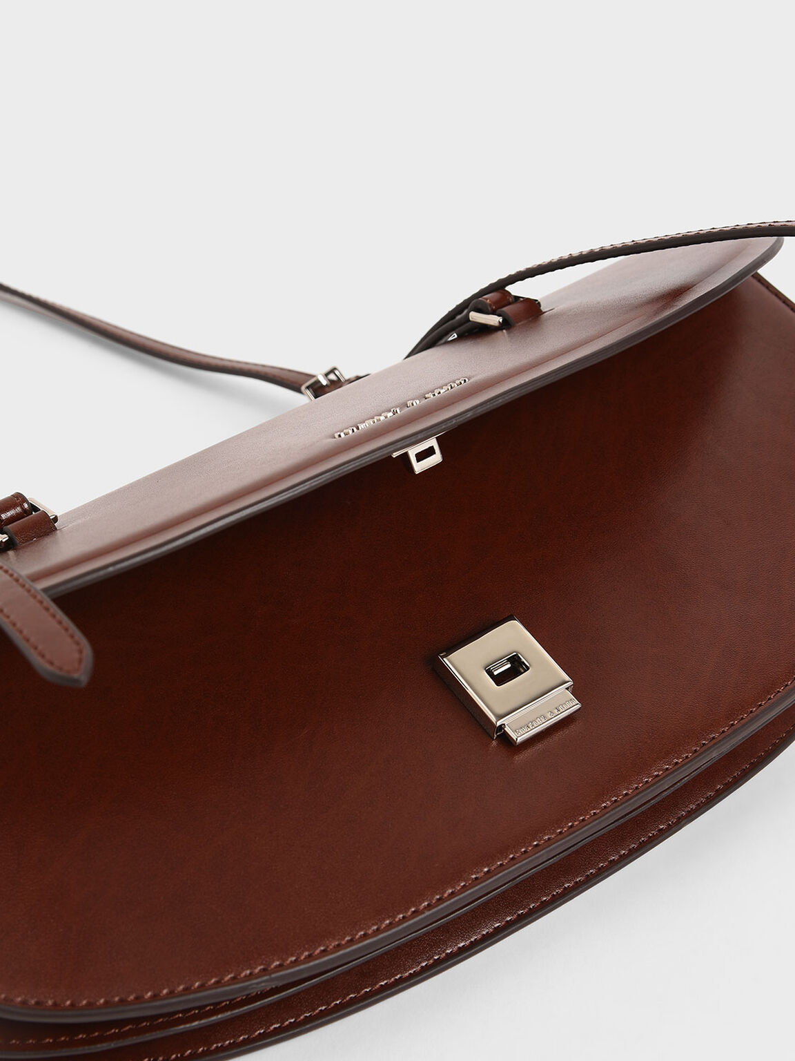 Single Handle Shoulder Bag, Brown, hi-res