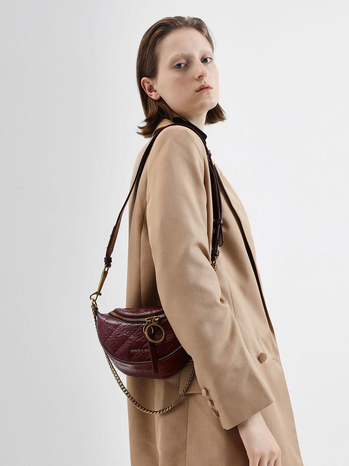 Wrinkled Effect Ring Zip Tassel Crossbody Bag, Burgundy, hi-res