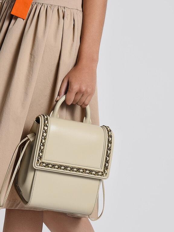 Chain Detail Push-Lock Shoulder Bag, Ivory, hi-res