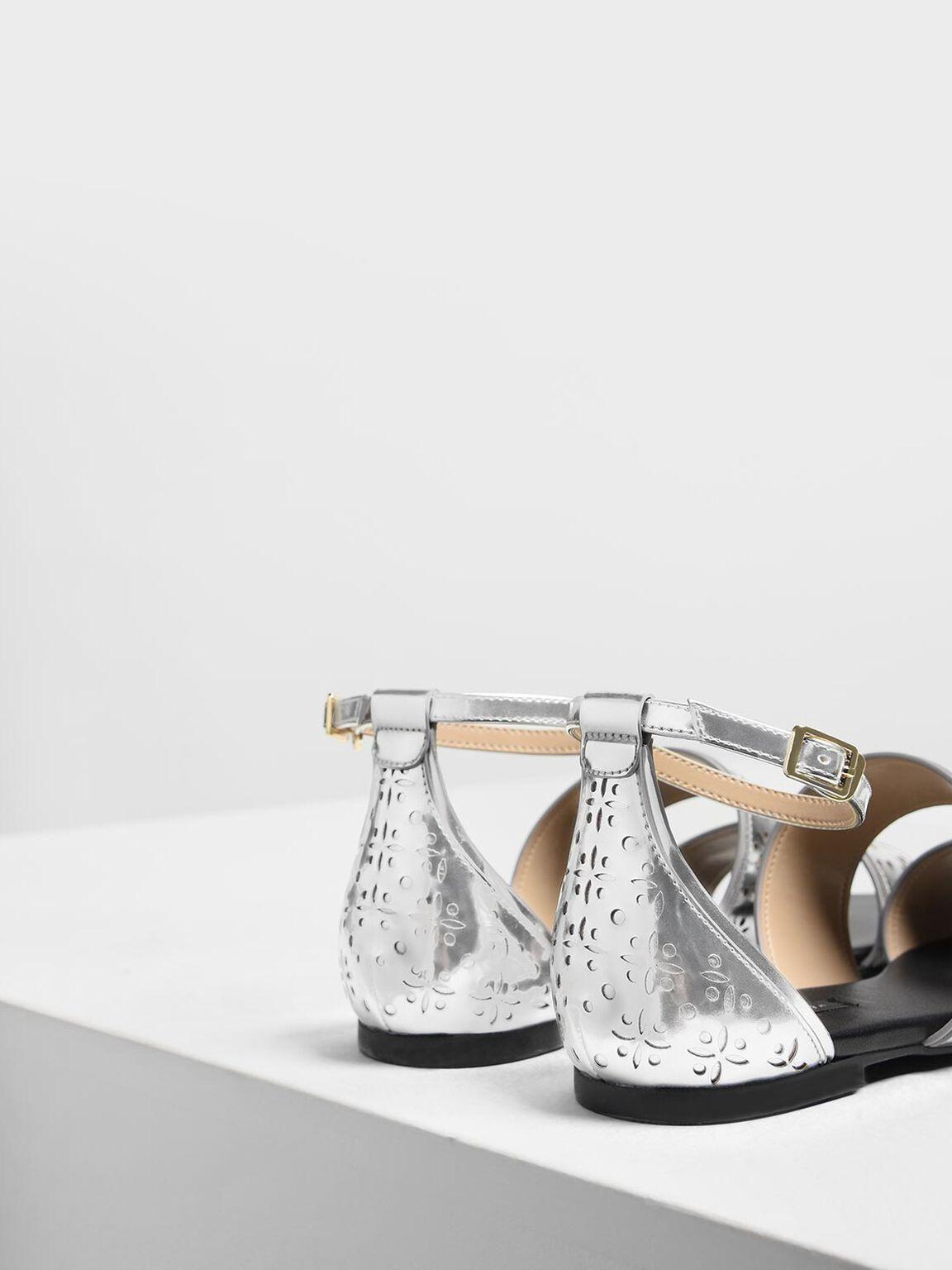 Double Bar Motif Sandals, Silver, hi-res